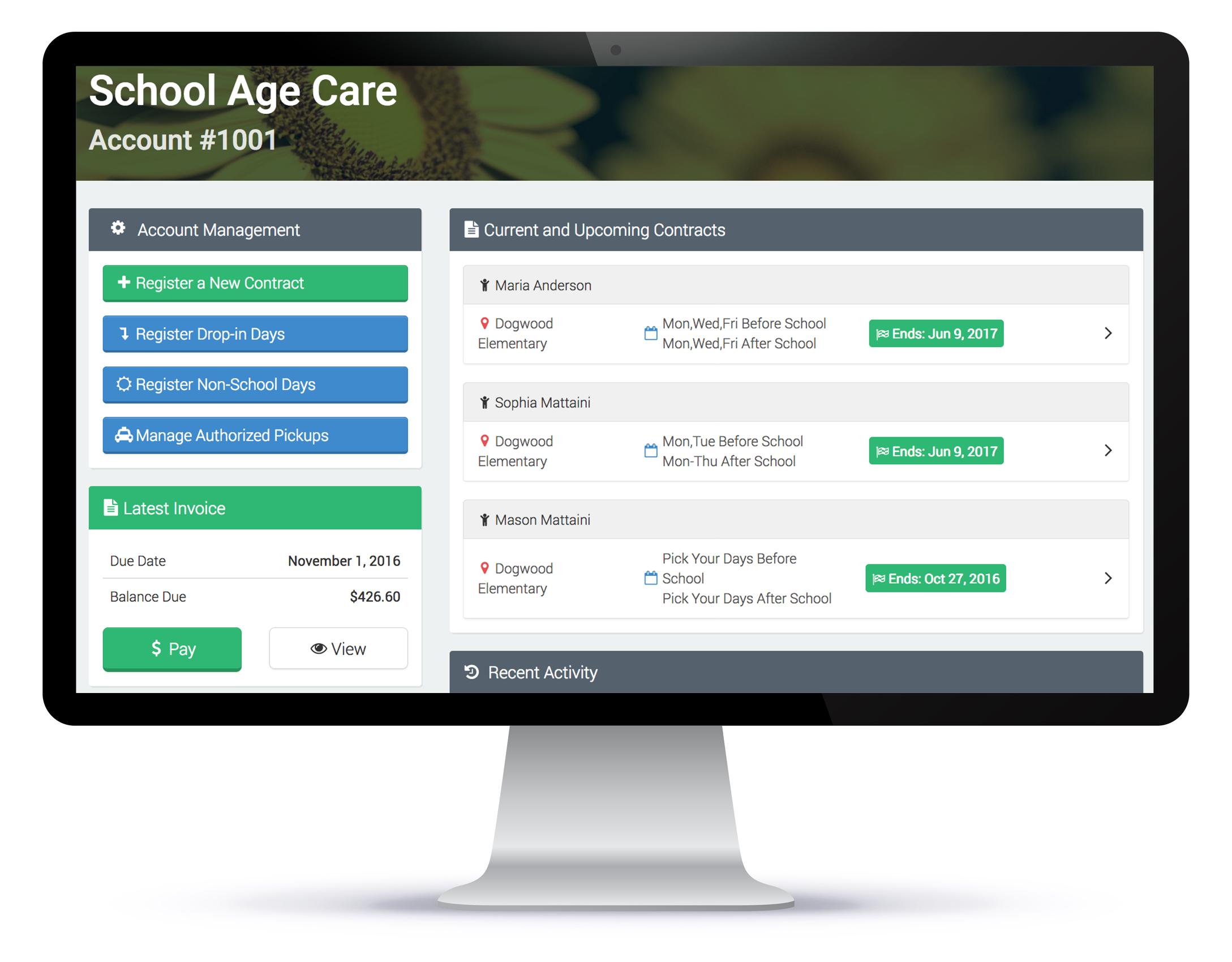Child care registration screen
