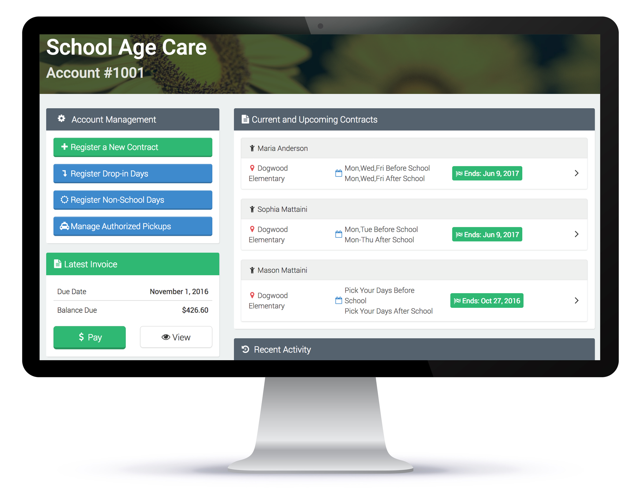 Child care registration screen