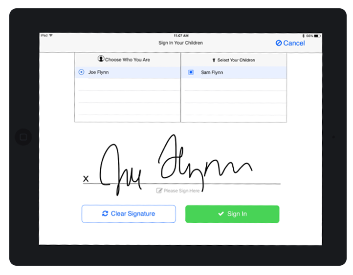 iPad Attendance App Signature Capture