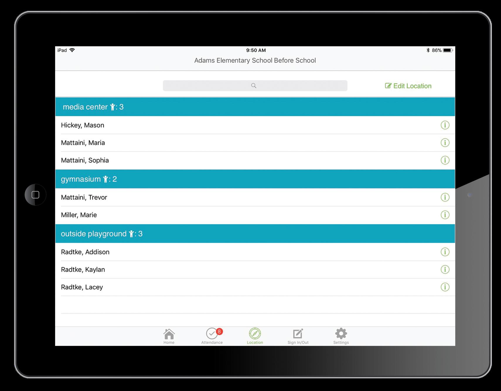 iPad Attendance App Child Location Screen