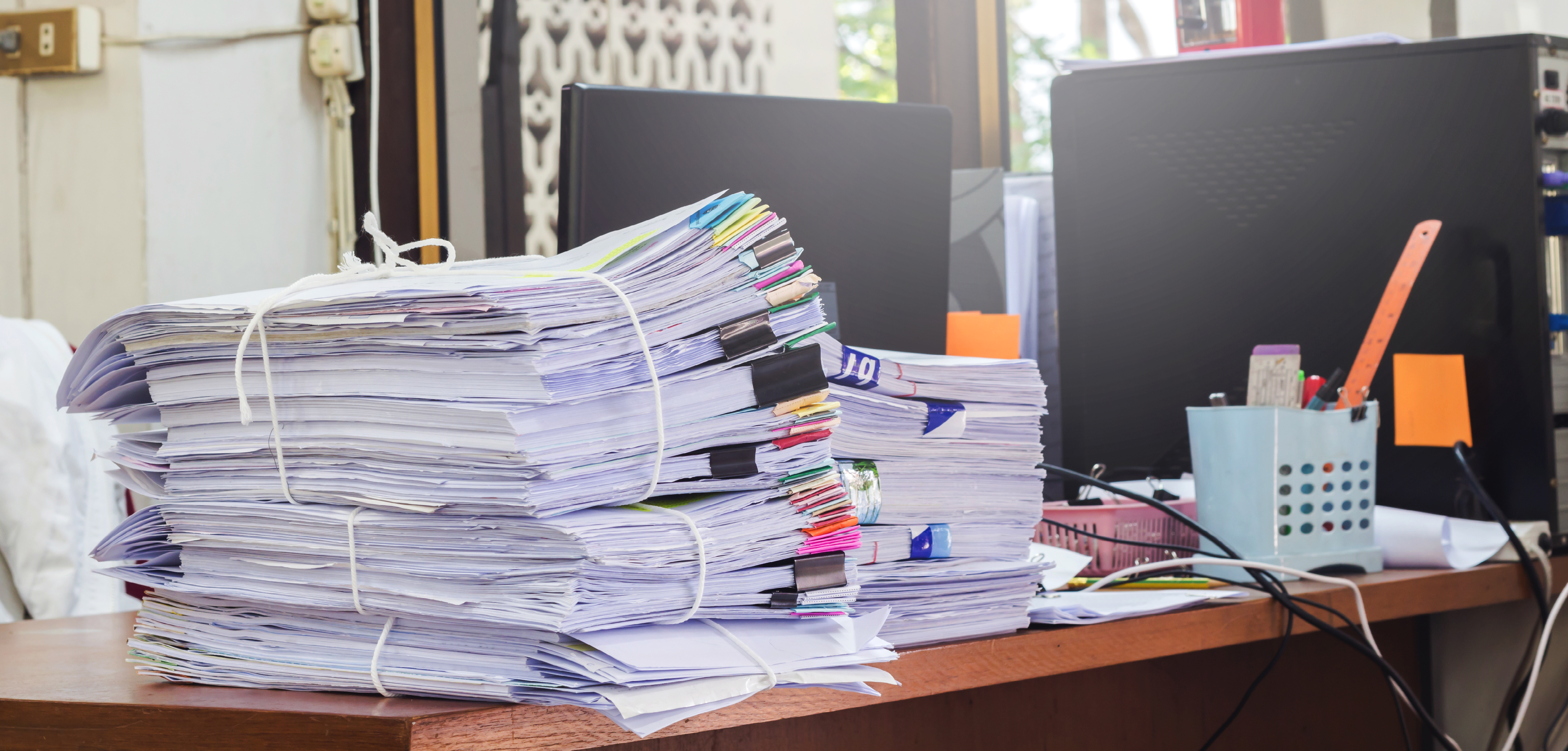 Desk full of tax documents